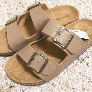 Tan double strap sandals